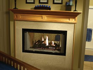 Multi-sided Wood Fireplace Image