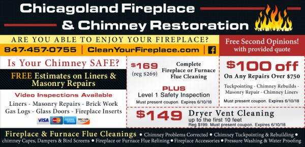Chicagoland fireplace and chimney restoration coupon-100